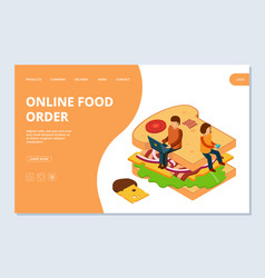 online food order landing page template vector image