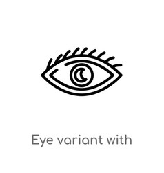 Outline eye variant with enlarged pupil icon vector