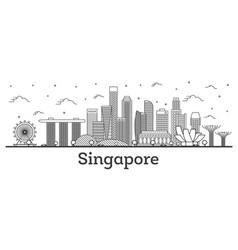 Outline singapore city skyline with modern vector