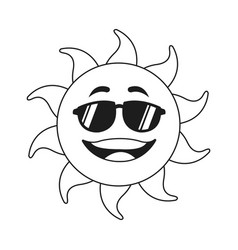 Outlined sunny face smiling character icon vector
