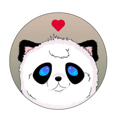 panda head icon kawaii love vector image