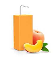 peach juice carton cardboard box pack vector image