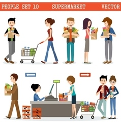 People in a supermarket with purchases vector image vector image