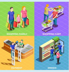people shopping isometric vector image