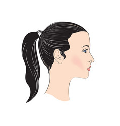 pretty girl profile young woman face portrait vector image
