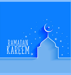 Ramadan kareem mosque and star background vector