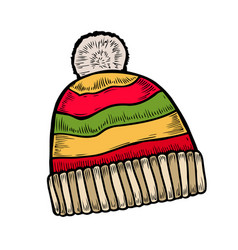 Red and white knitted hat vector