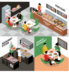 restaurant interior compositions set vector image