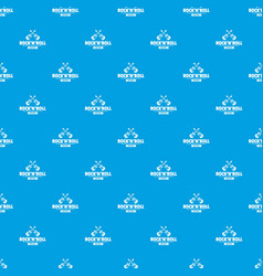 rock n roll pattern seamless blue vector image