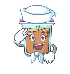 Sailor bubble tea character cartoon vector