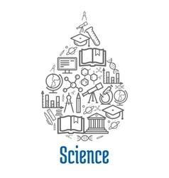 Science icon in water drop shape vector