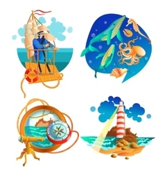 Sea Ocean Nautical Symbols Set vector
