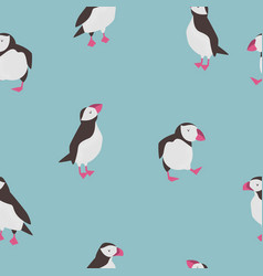 seamless pattern with cute puffins in different vector image