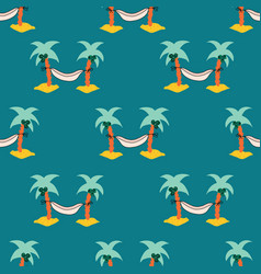 seamless pattern with hammock between coconut palm vector image