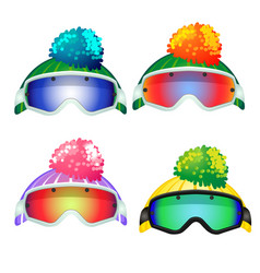 Set of colored goggles of the skier and the vector