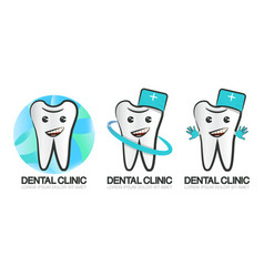 set of dental clinic logo of vector image
