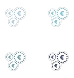 Set of paper stickers on white background Euro vector