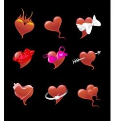 sexy heart icon set vector image