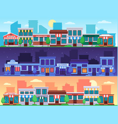 shopping street small shop streets cityscape vector image