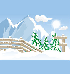 signpost and fence in a winter mountain landscape vector image