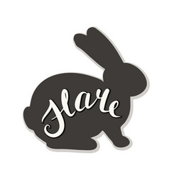 Silhouette of a hare on a white background vector