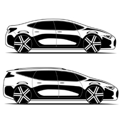 Silhouettes of cars isolated on white background vector