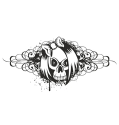 skull emo with pattern vector image