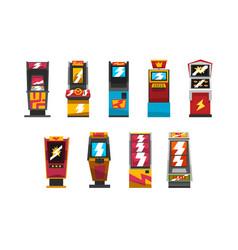 Slot machines set arcade gambling equipment vector