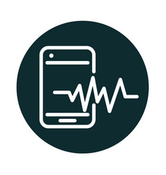 Smartphone frequency sound block style icon vector