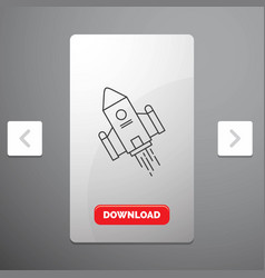 space craft shuttle space rocket launch line icon vector image