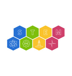stem concept creative colored hexagonal vector image