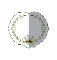 Sticker decorative half border with leaves and vector