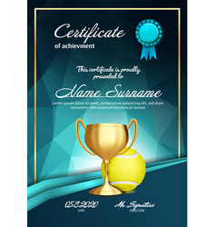 tennis certificate diploma with golden cup vector image
