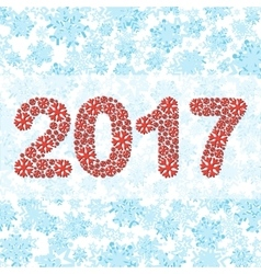 The figures 2017 made from snowflakes vector