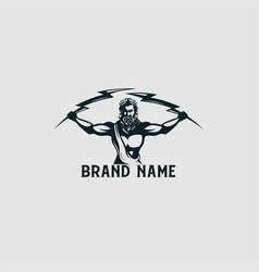 The god zeus holding thunder logo vector