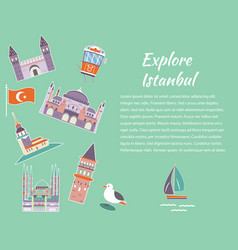 tourist poster with famous landmarks of istanbul vector image