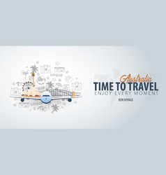 Travel to australia time to travel banner with vector