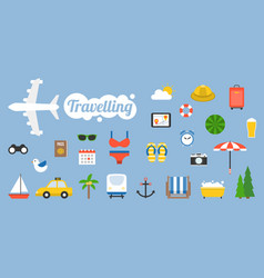 Traveling icon and elements in flat design style vector