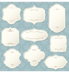 Vintage frame set on damask background vector image