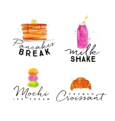 Watercolor label croissant vector
