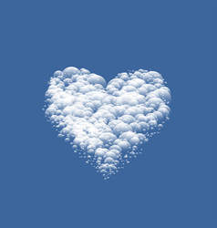 white cloudy valentine heart vector image