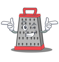 Wink kitchen grater character cartoon vector