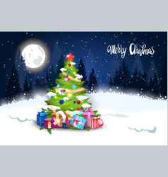 Winter forest landscape with christmas tree and vector