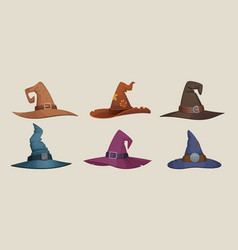 witch hat black female cap scary symbols for vector image