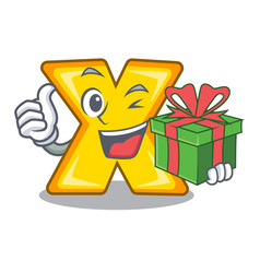 With gift cartoon multiply sign for calculate math vector