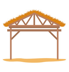 Wooden stable manger icon vector