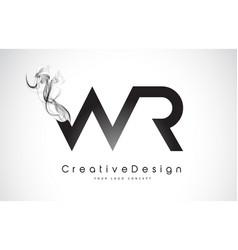 Wr letter logo design with black smoke vector