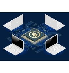 Bitcoin mining equipment Digital Bitcoin Golden vector image vector image