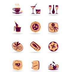 Drinks dishes appetizers and desserts vector image