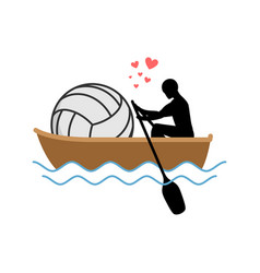 lover volleyball guy and ball ride in boat lovers vector image